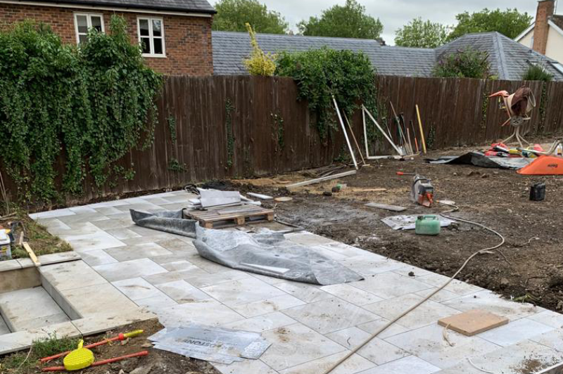Garden clearance installation of cotswold paving landscaping patio design 4