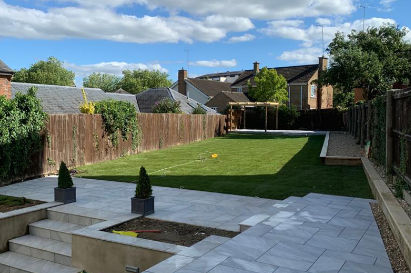 Garden clearance installation of cotswold paving landscaping patio design 6