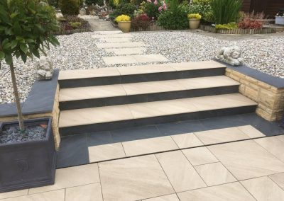 steps installation with patio and landscaped garden cotswolds