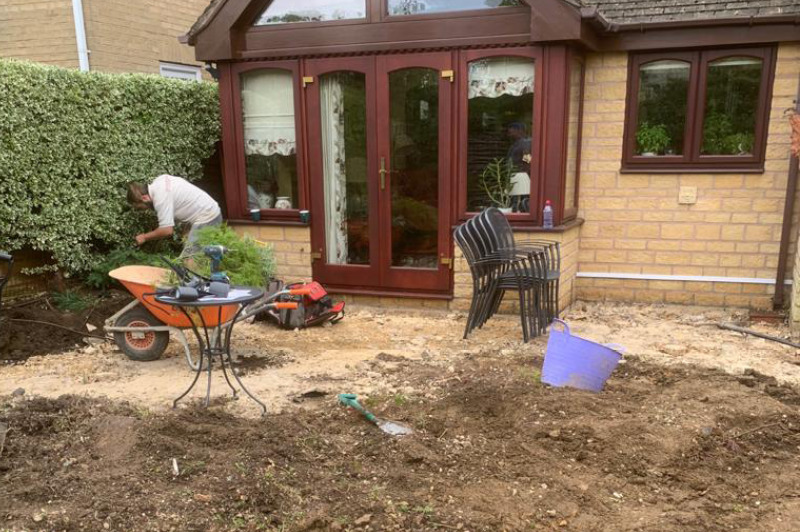 starting of a patio and landscape project in the cotswolds 3