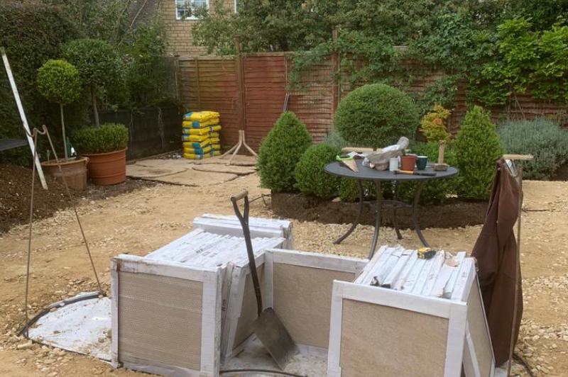 starting of a patio and landscape project in the cotswolds 4